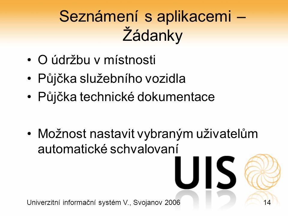 14 Univerzitní informační systém V., Svojanov 2006 Seznámení s aplikacemi – Žádanky O údržbu v místnosti Půjčka služebního vozidla Půjčka technické dokumentace Možnost nastavit vybraným uživatelům automatické schvalovaní