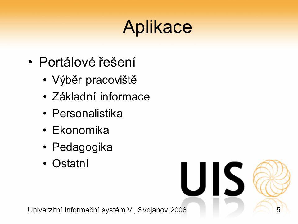 5 Univerzitní informační systém V., Svojanov 2006 Aplikace Portálové řešení Výběr pracoviště Základní informace Personalistika Ekonomika Pedagogika Ostatní