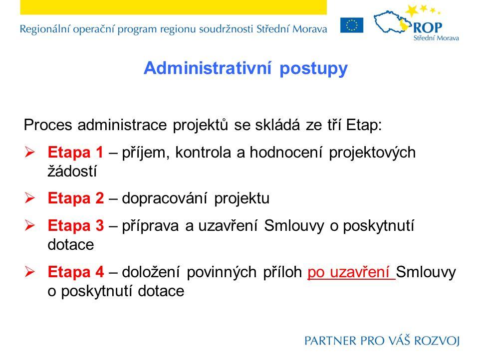 Proces administrace projektů se skládá ze tří Etap:  Etapa 1 – příjem, kontrola a hodnocení projektových žádostí  Etapa 2 – dopracování projektu  E