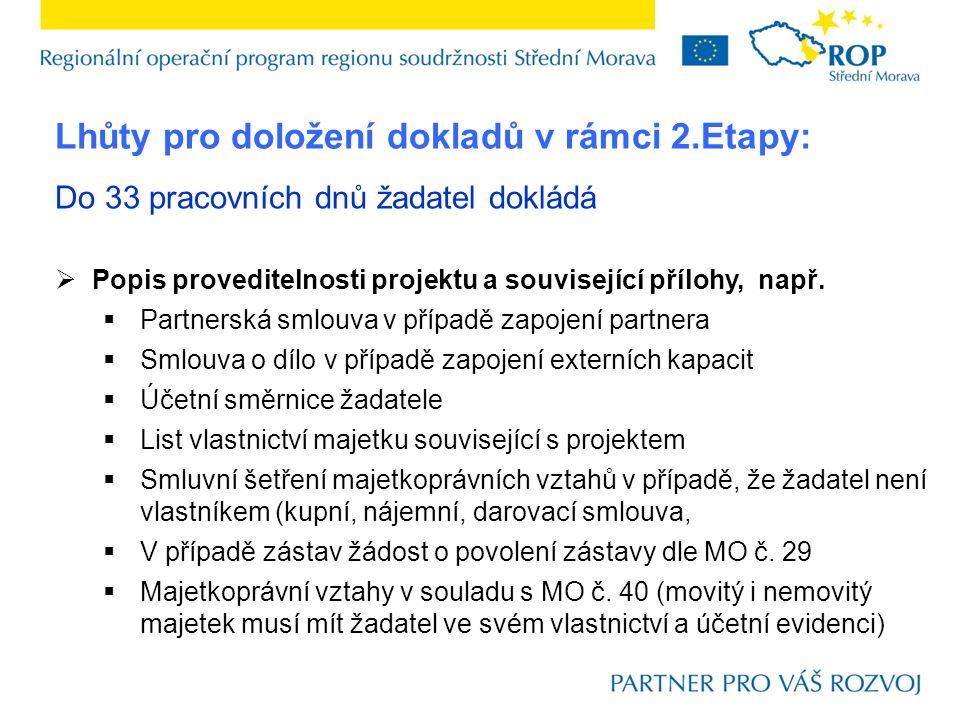 Do 33 pracovních dnů žadatel dokládá  Doklady o zajištění financování realizace projektu dle MO č.