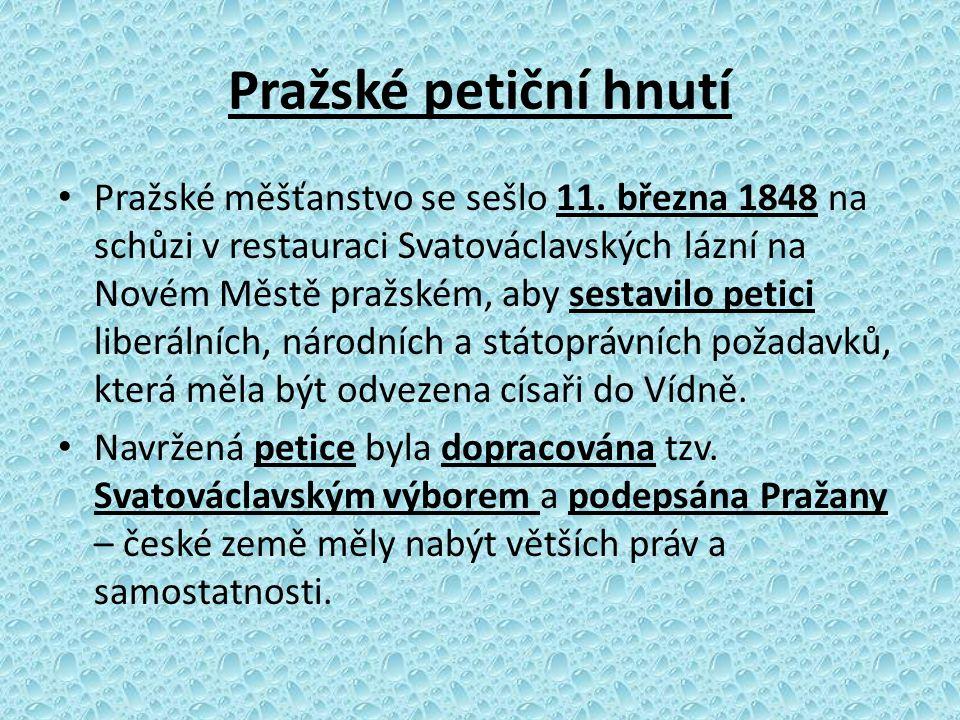 Pražské petiční hnutí Pražské měšťanstvo se sešlo 11. března 1848 na schůzi v restauraci Svatováclavských lázní na Novém Městě pražském, aby sestavilo