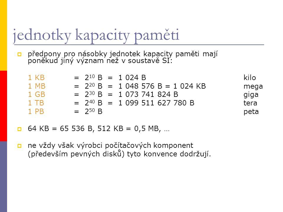 jednotky kapacity paměti  předpony pro násobky jednotek kapacity paměti mají poněkud jiný význam než v soustavě SI: 1 KB= 2 10 B = 1 024 Bkilo 1 MB= 2 20 B = 1 048 576 B = 1 024 KBmega 1 GB= 2 30 B = 1 073 741 824 Bgiga 1 TB= 2 40 B = 1 099 511 627 780 Btera 1 PB= 2 50 Bpeta  64 KB = 65 536 B, 512 KB = 0,5 MB, …  ne vždy však výrobci počítačových komponent (především pevných disků) tyto konvence dodržují.
