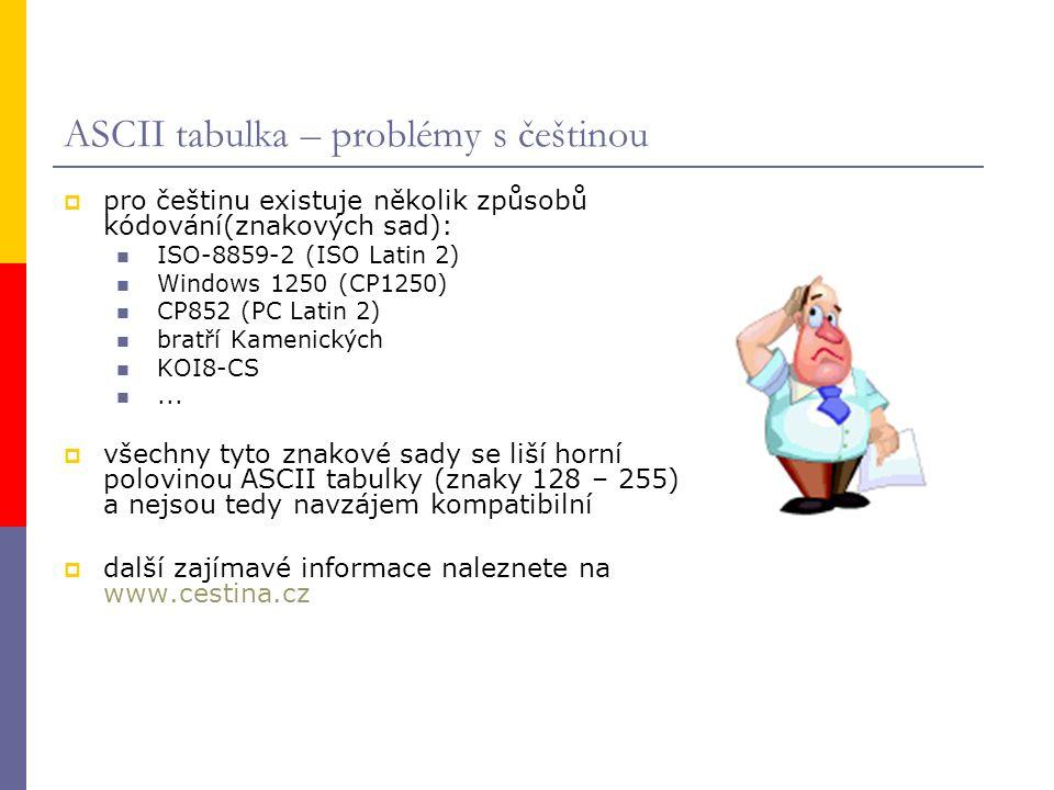 ASCII tabulka – problémy s češtinou  pro češtinu existuje několik způsobů kódování(znakových sad): ISO-8859-2 (ISO Latin 2) Windows 1250 (CP1250) CP852 (PC Latin 2) bratří Kamenických KOI8-CS...