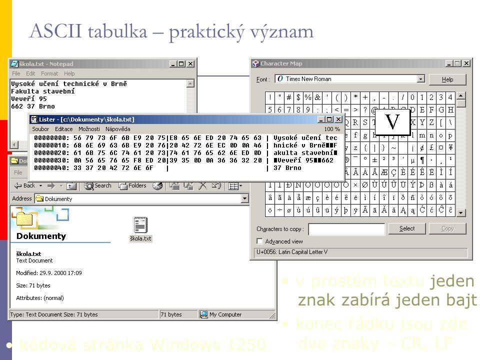 v prostém textu jeden znak zabírá jeden bajt konec řádku jsou zde dva znaky – CR, LF kódová stránka Windows 1250 ASCII tabulka – praktický význam