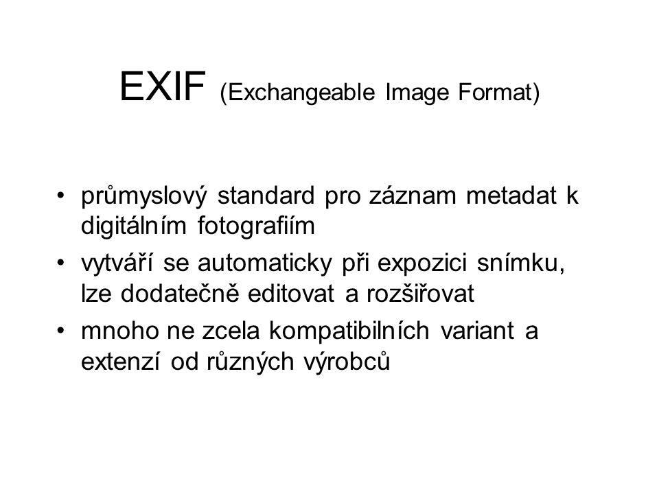 EXIF (Exchangeable Image Format) průmyslový standard pro záznam metadat k digitálním fotografiím vytváří se automaticky při expozici snímku, lze dodatečně editovat a rozšiřovat mnoho ne zcela kompatibilních variant a extenzí od různých výrobců