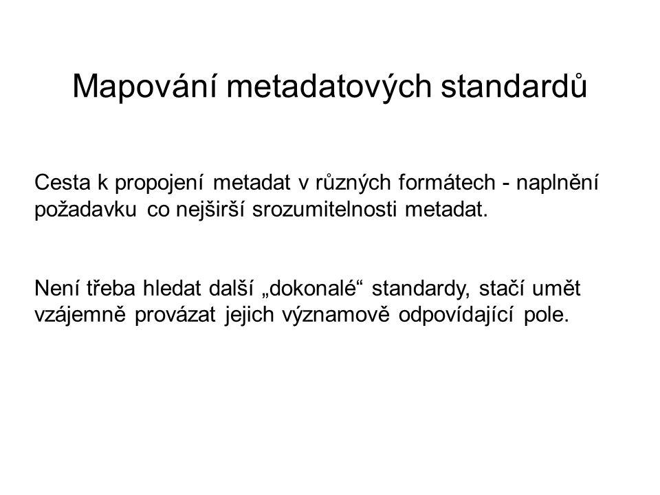 Mapování metadatových standardů Cesta k propojení metadat v různých formátech - naplnění požadavku co nejširší srozumitelnosti metadat.
