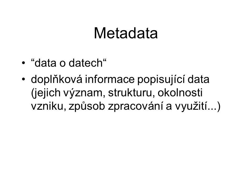 data o datech doplňková informace popisující data (jejich význam, strukturu, okolnosti vzniku, způsob zpracování a využití...)