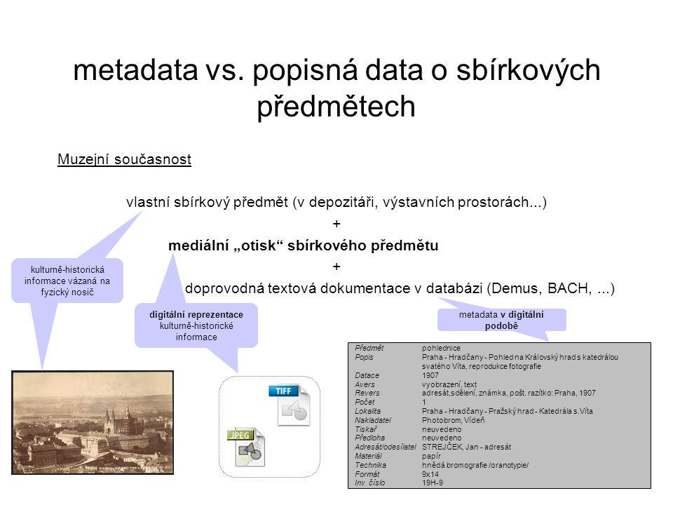 """Muzejní současnost vlastní sbírkový předmět (v depozitáři, výstavních prostorách...) + mediální """"otisk sbírkového předmětu + doprovodná textová dokumentace v databázi (Demus, BACH,...) metadata vs."""