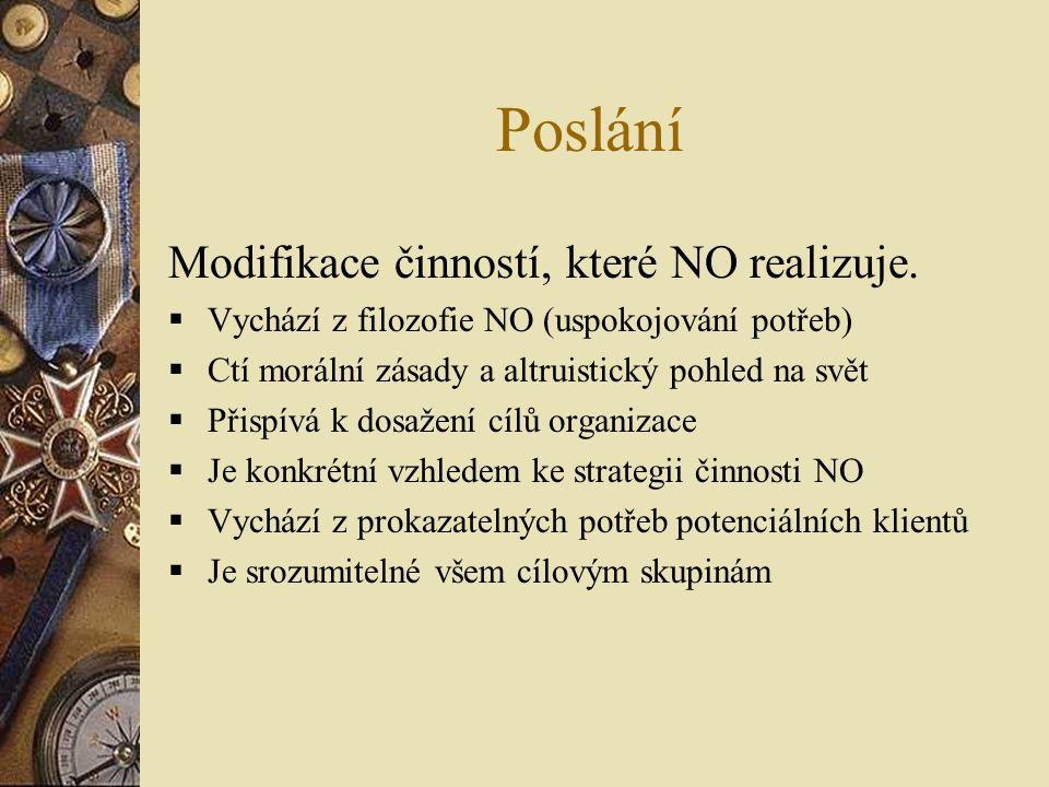 Poslání Modifikace činností, které NO realizuje.  Vychází z filozofie NO (uspokojování potřeb)  Ctí morální zásady a altruistický pohled na svět  P