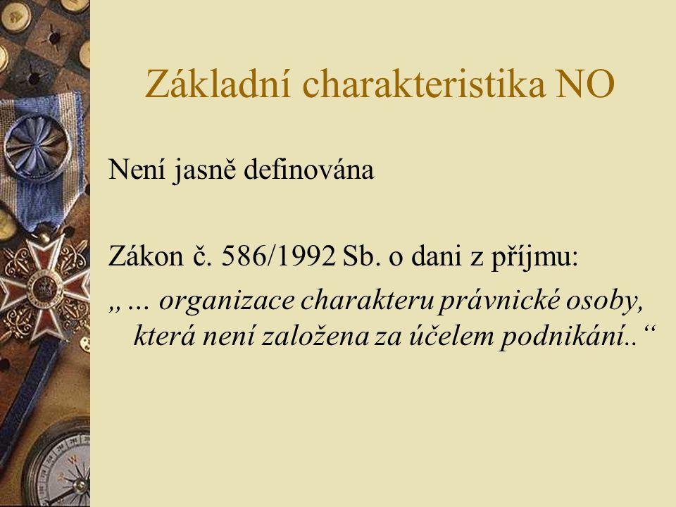 """Základní charakteristika NO Není jasně definována Zákon č. 586/1992 Sb. o dani z příjmu: """"… organizace charakteru právnické osoby, která není založena"""