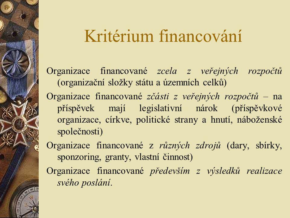 Kritérium financování Organizace financované zcela z veřejných rozpočtů (organizační složky státu a územních celků) Organizace financované zčásti z ve
