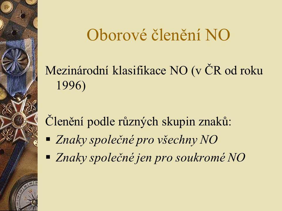 Oborové členění NO Mezinárodní klasifikace NO (v ČR od roku 1996) Členění podle různých skupin znaků:  Znaky společné pro všechny NO  Znaky společné