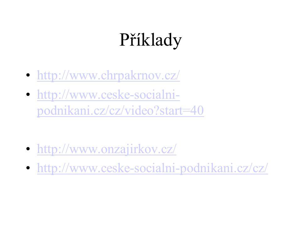 Příklady http://www.chrpakrnov.cz/ http://www.ceske-socialni- podnikani.cz/cz/video start=40http://www.ceske-socialni- podnikani.cz/cz/video start=40 http://www.onzajirkov.cz/ http://www.ceske-socialni-podnikani.cz/cz/