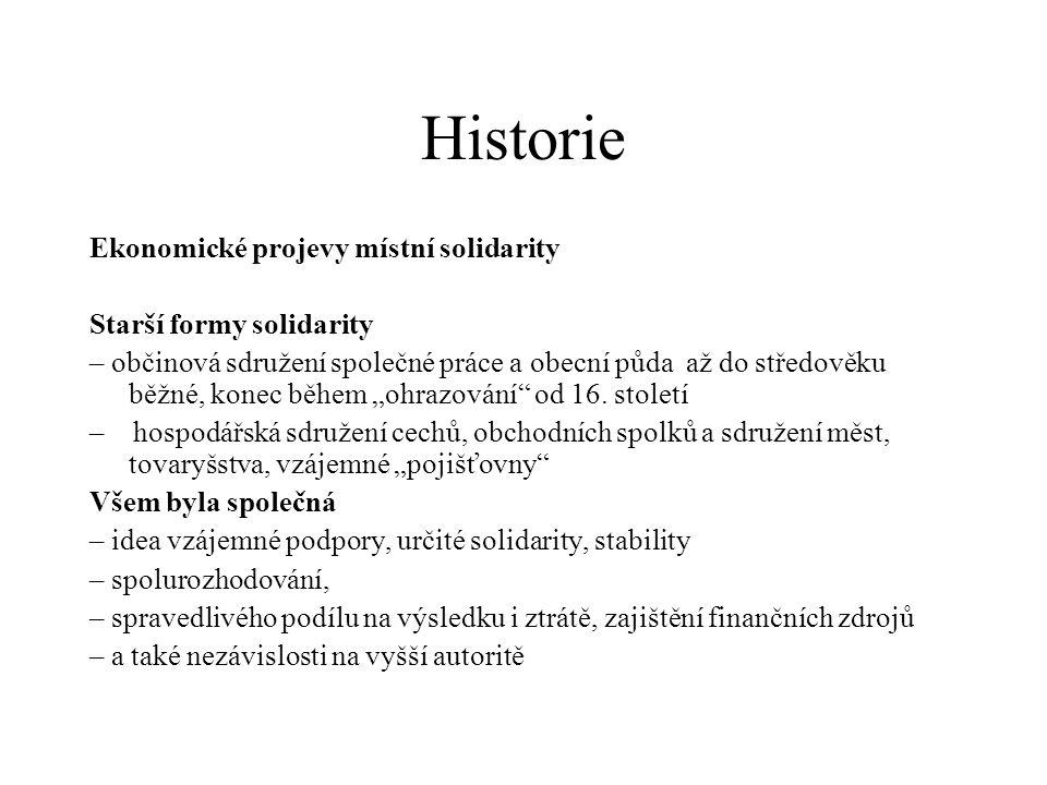 """Historie Ekonomické projevy místní solidarity Starší formy solidarity – občinová sdružení společné práce a obecní půda až do středověku běžné, konec během """"ohrazování od 16."""