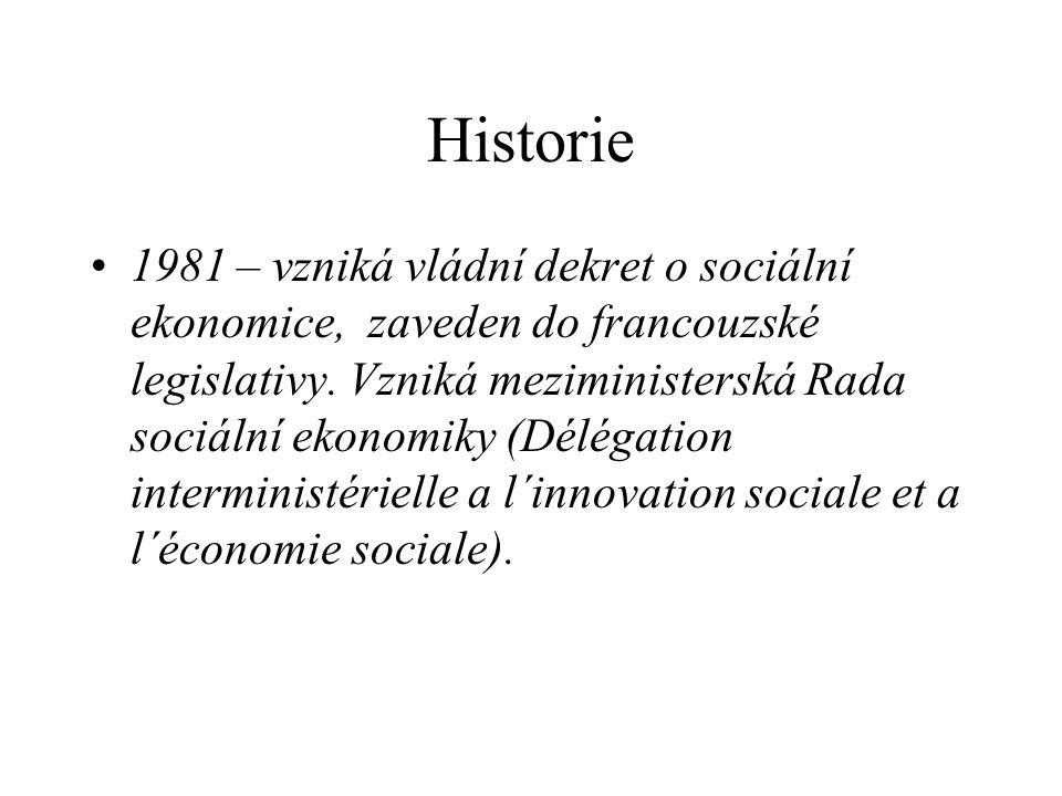 Historie 1981 – vzniká vládní dekret o sociální ekonomice, zaveden do francouzské legislativy.