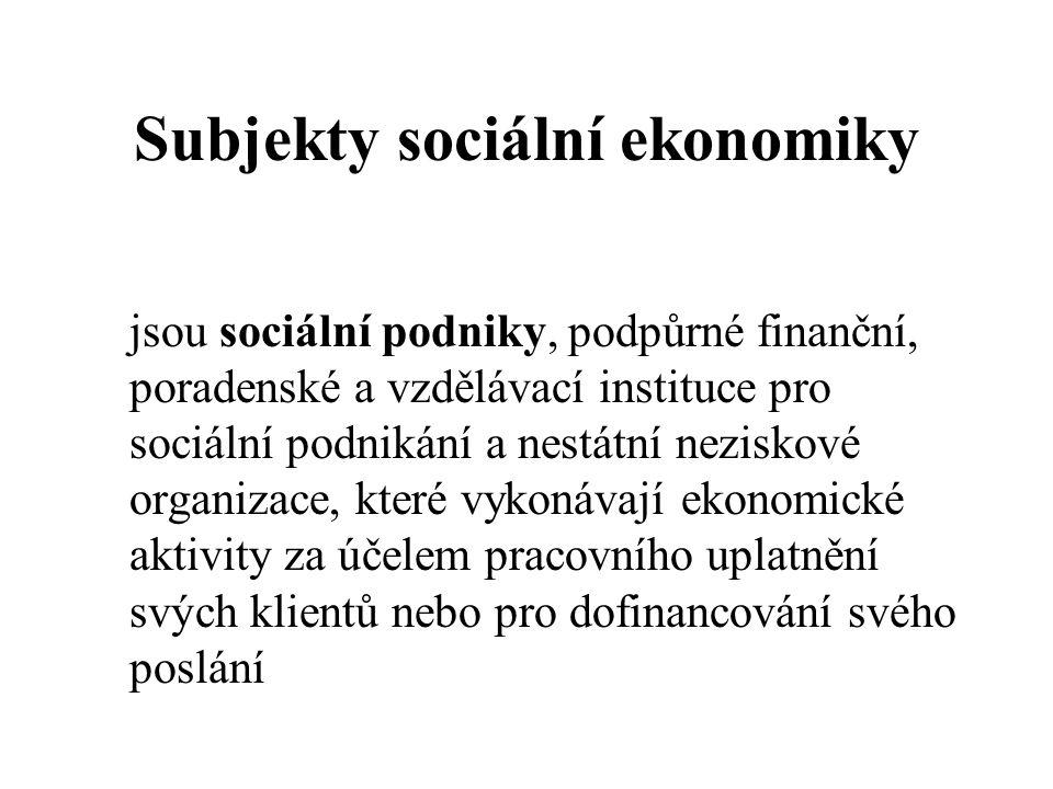 Subjekty sociální ekonomiky jsou sociální podniky, podpůrné finanční, poradenské a vzdělávací instituce pro sociální podnikání a nestátní neziskové organizace, které vykonávají ekonomické aktivity za účelem pracovního uplatnění svých klientů nebo pro dofinancování svého poslání