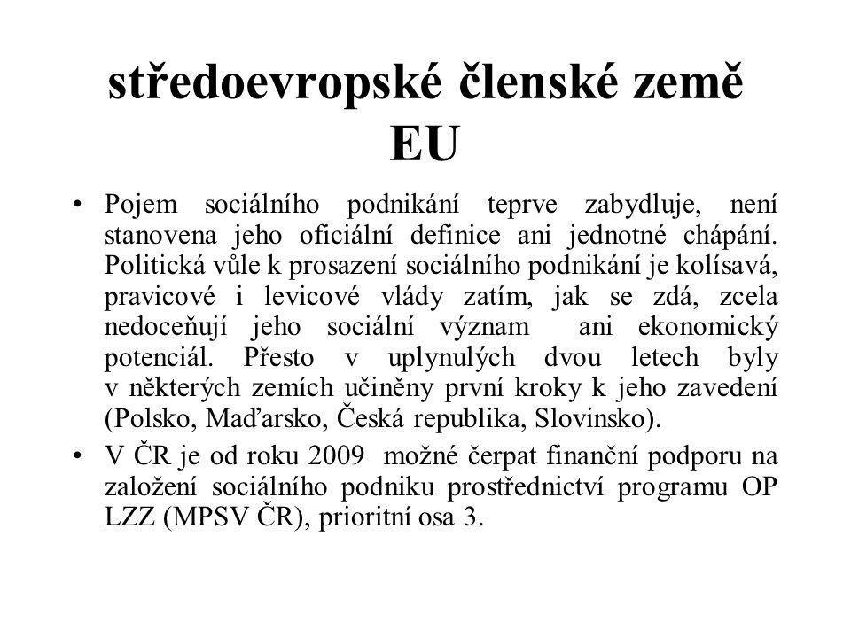 středoevropské členské země EU Pojem sociálního podnikání teprve zabydluje, není stanovena jeho oficiální definice ani jednotné chápání.