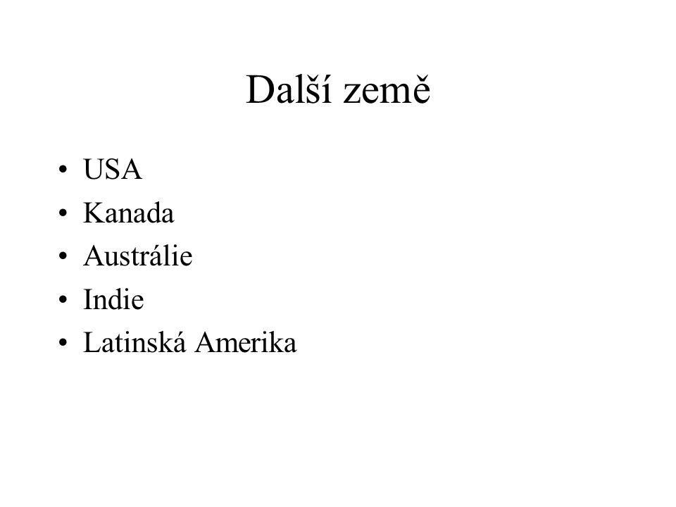 Další země USA Kanada Austrálie Indie Latinská Amerika