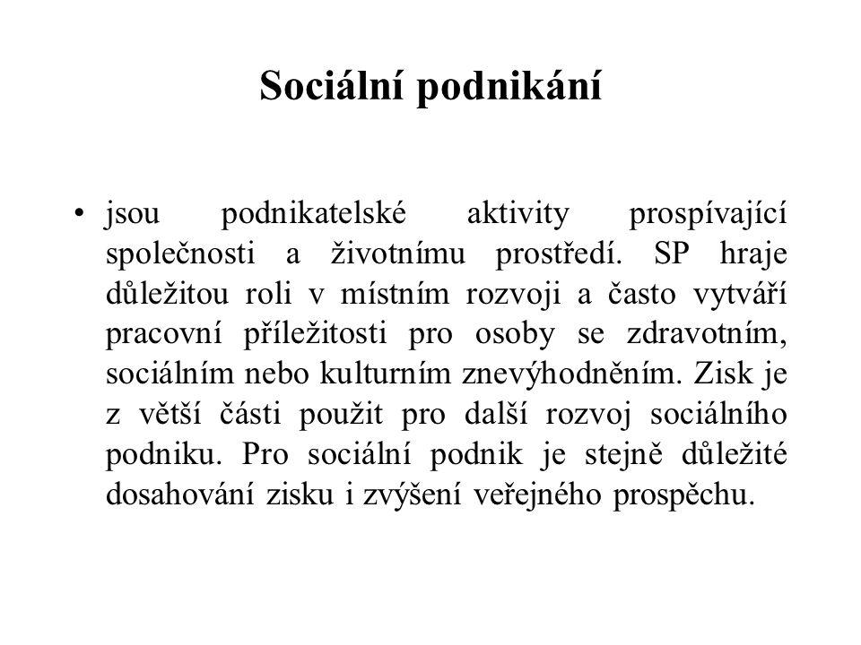 Sociální podnikání jsou podnikatelské aktivity prospívající společnosti a životnímu prostředí.