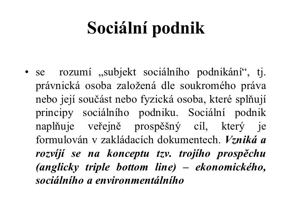 """Sociální podnik se rozumí """"subjekt sociálního podnikání , tj."""