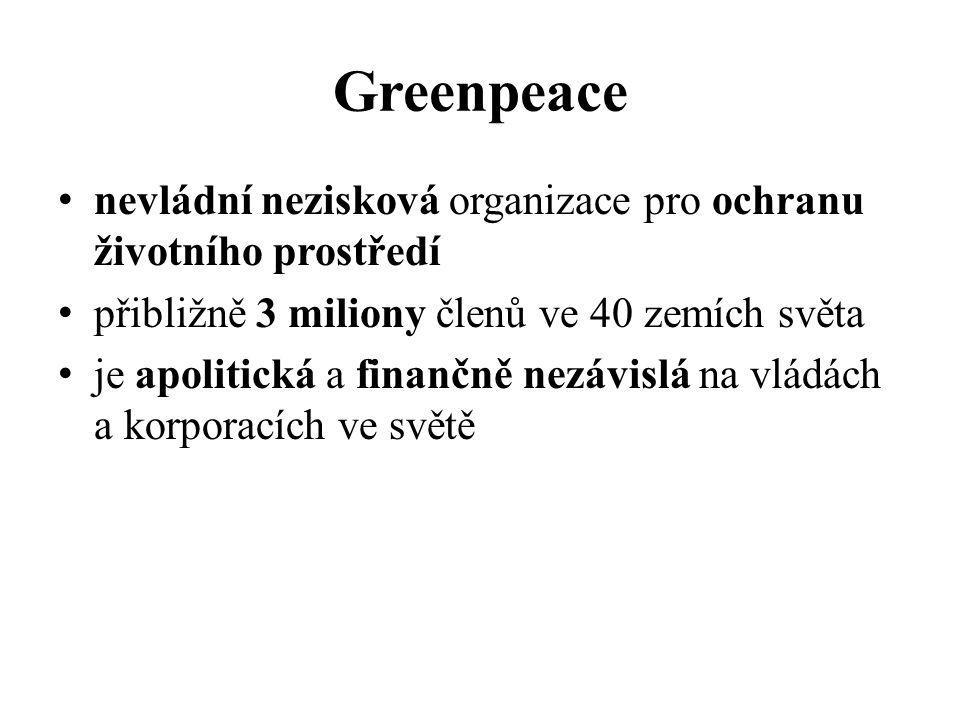 Greenpeace nevládní nezisková organizace pro ochranu životního prostředí přibližně 3 miliony členů ve 40 zemích světa je apolitická a finančně nezávislá na vládách a korporacích ve světě