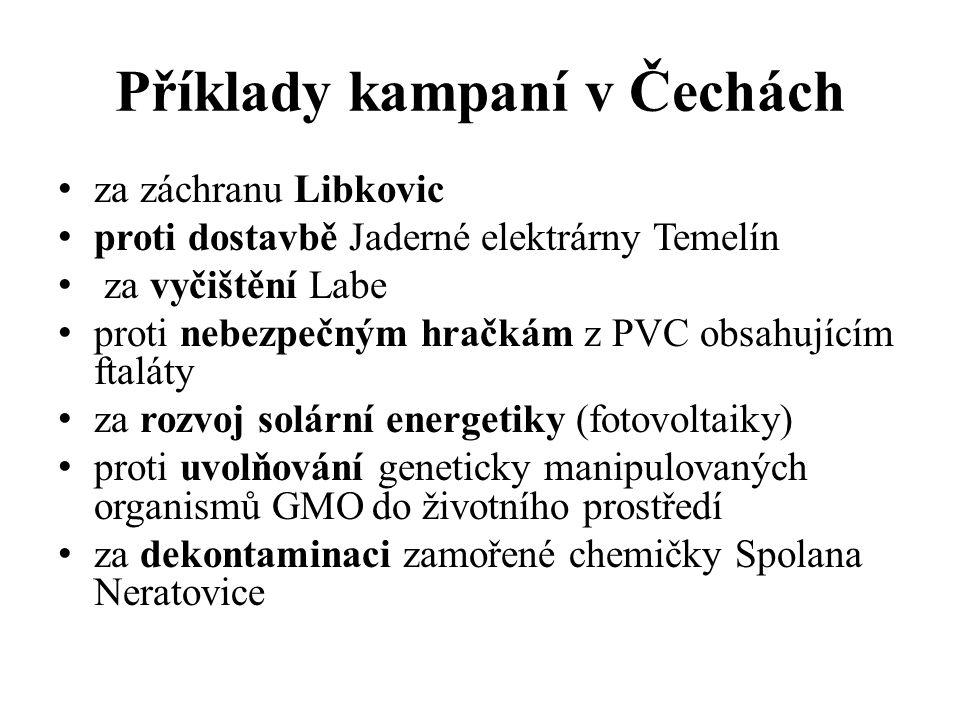 Příklady kampaní v Čechách za záchranu Libkovic proti dostavbě Jaderné elektrárny Temelín za vyčištění Labe proti nebezpečným hračkám z PVC obsahujícím ftaláty za rozvoj solární energetiky (fotovoltaiky) proti uvolňování geneticky manipulovaných organismů GMO do životního prostředí za dekontaminaci zamořené chemičky Spolana Neratovice