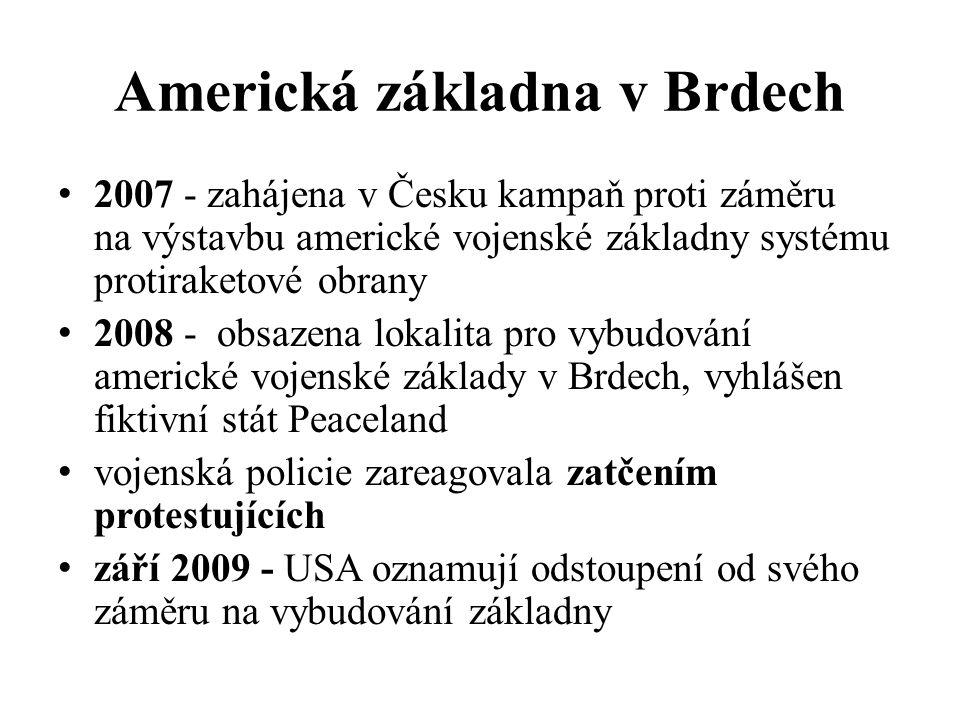 Americká základna v Brdech 2007 - zahájena v Česku kampaň proti záměru na výstavbu americké vojenské základny systému protiraketové obrany 2008 - obsazena lokalita pro vybudování americké vojenské základy v Brdech, vyhlášen fiktivní stát Peaceland vojenská policie zareagovala zatčením protestujících září 2009 - USA oznamují odstoupení od svého záměru na vybudování základny