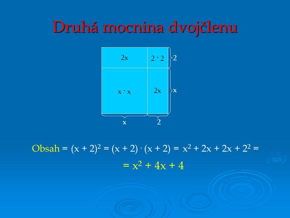 (x + 2) 2 =x 2 + 2x + 2x + 2 2 =(x + 2)· (x + 2) = = x 2 + 4x + 4 Obsah = x· xx· x 2 · 2 2x x2 2 x Druhá mocnina dvojčlenu