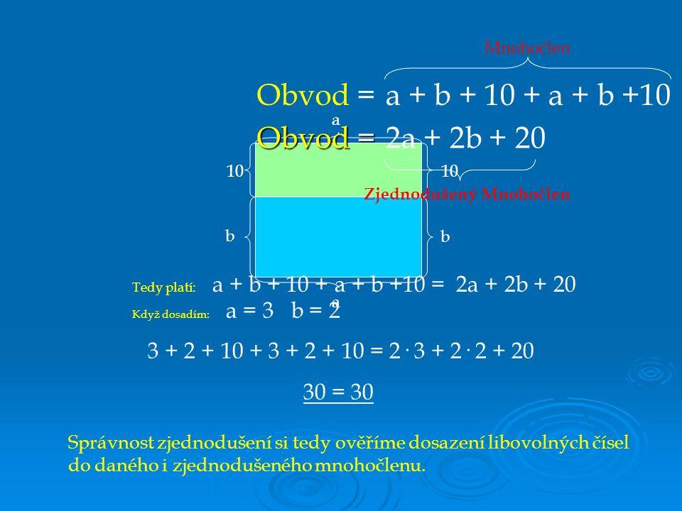 a b 10 a b Když dosadím: a = 3 b = 2 3 + 2 + 10 + 3 + 2 + 10 = 2· 3 + 2· 2 + 20 30 = 30 a + b + 10 + a + b +10 2a + 2b + 20 Obvod = Zjednodušený Mnohočlen Mnohočlen Obvod = Tedy platí: a + b + 10 + a + b +10 = 2a + 2b + 20 Správnost zjednodušení si tedy ověříme dosazení libovolných čísel do daného i zjednodušeného mnohočlenu.