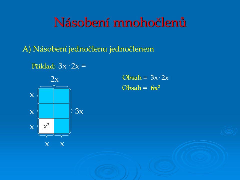 B) Násobení mnohočlenu jednočlenem 4x8 x + 2 4 2x Obsah = (x + 2)· 4 Obsah = 4x + 8 Příklad: 4 · (x + 2) = Každý člen mnohočlenu vynásobíme jednočlenem.