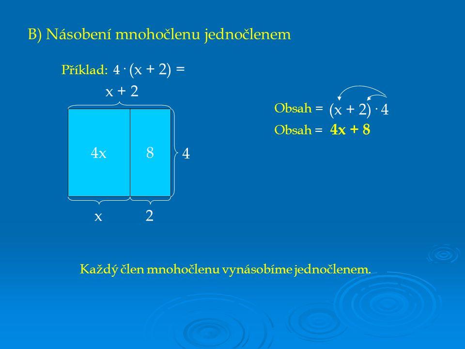 C) Násobení mnohočlenu mnohočlenem x2x2 x3 3x x x3 1 Obsah = (x + 1)· (x + 3) Obsah = x 2 + 3x + x + 3 Obsah = x 2 + 4x + 3 Nyní musíme tedy vynásobit každý člen jednoho mnohočlenu každým členem druhého mnohočlenu.