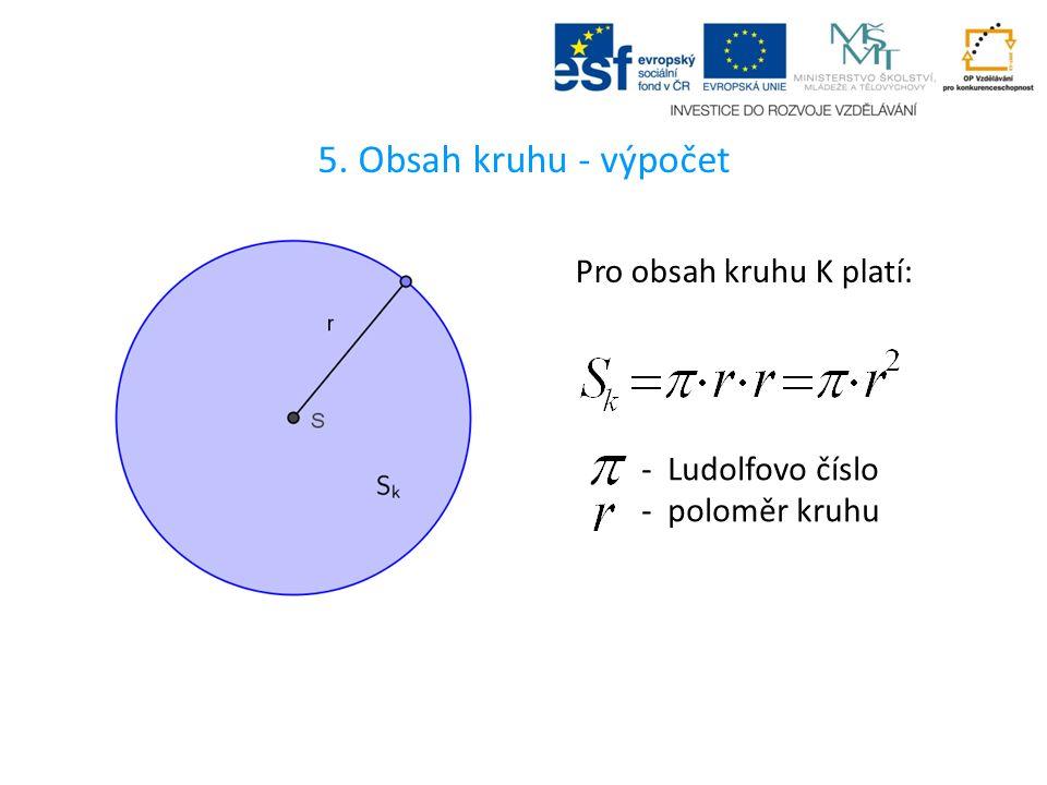 5. Obsah kruhu - výpočet Pro obsah kruhu K platí: - Ludolfovo číslo - poloměr kruhu