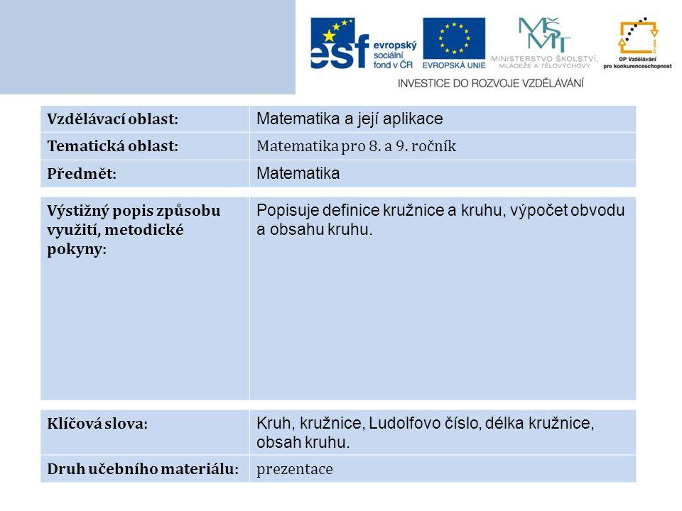 Vzdělávací oblast: Matematika a její aplikace Tematická oblast:Matematika pro 8.