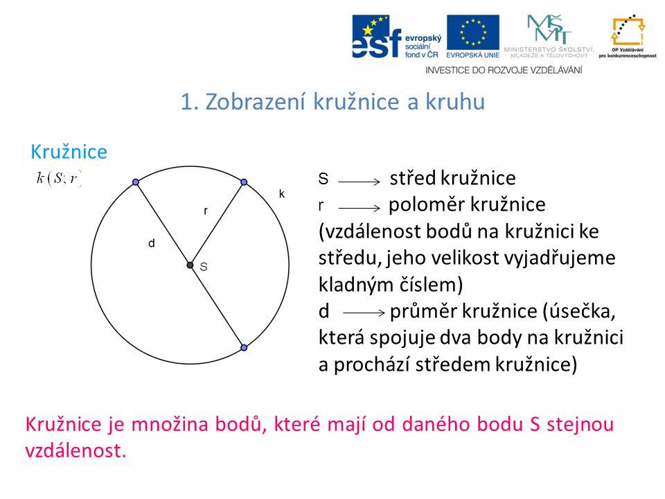 1.Zobrazení kružnice a kruhu Kružnice Kružnice k(S;r) tvoří všechny body X, pro které platí.