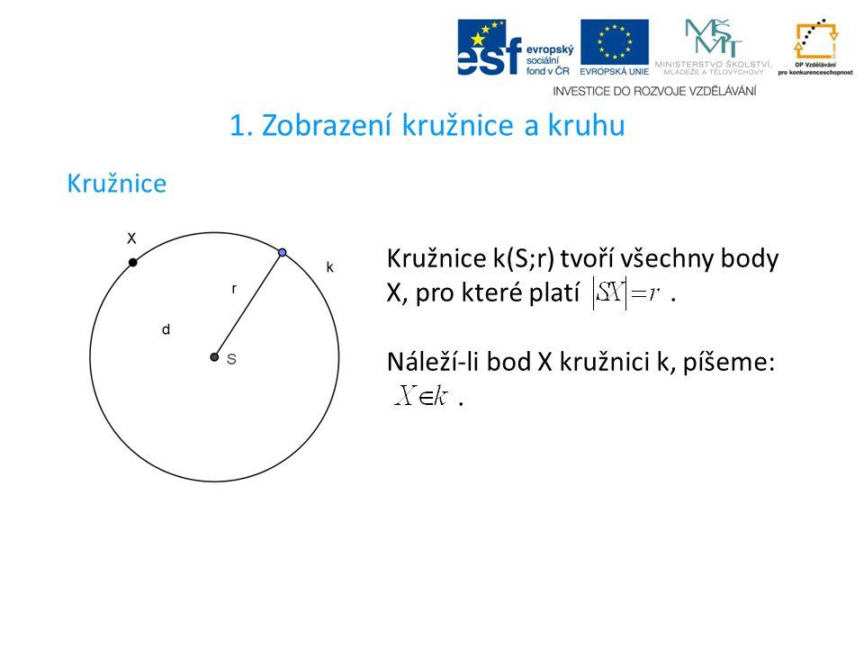 1. Zobrazení kružnice a kruhu Kružnice Kružnice k(S;r) tvoří všechny body X, pro které platí.