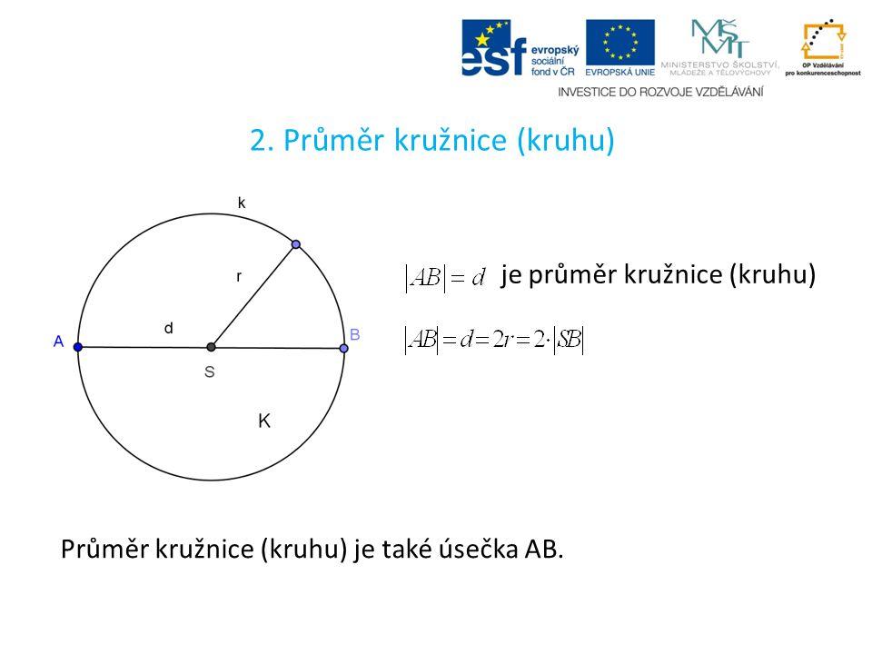 2. Průměr kružnice (kruhu) je průměr kružnice (kruhu) Průměr kružnice (kruhu) je také úsečka AB.