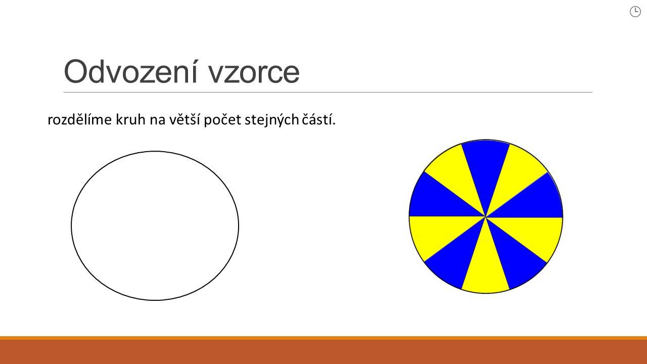 Odvození vzorce rozdělíme kruh na větší počet stejných částí.
