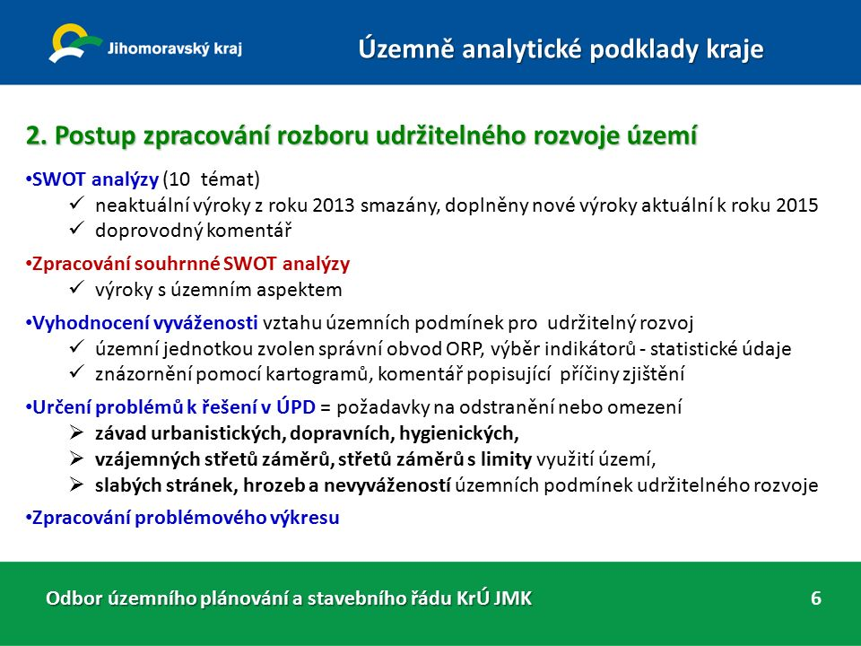 2. Postup zpracování rozboru udržitelného rozvoje území SWOT analýzy (10 témat) neaktuální výroky z roku 2013 smazány, doplněny nové výroky aktuální k