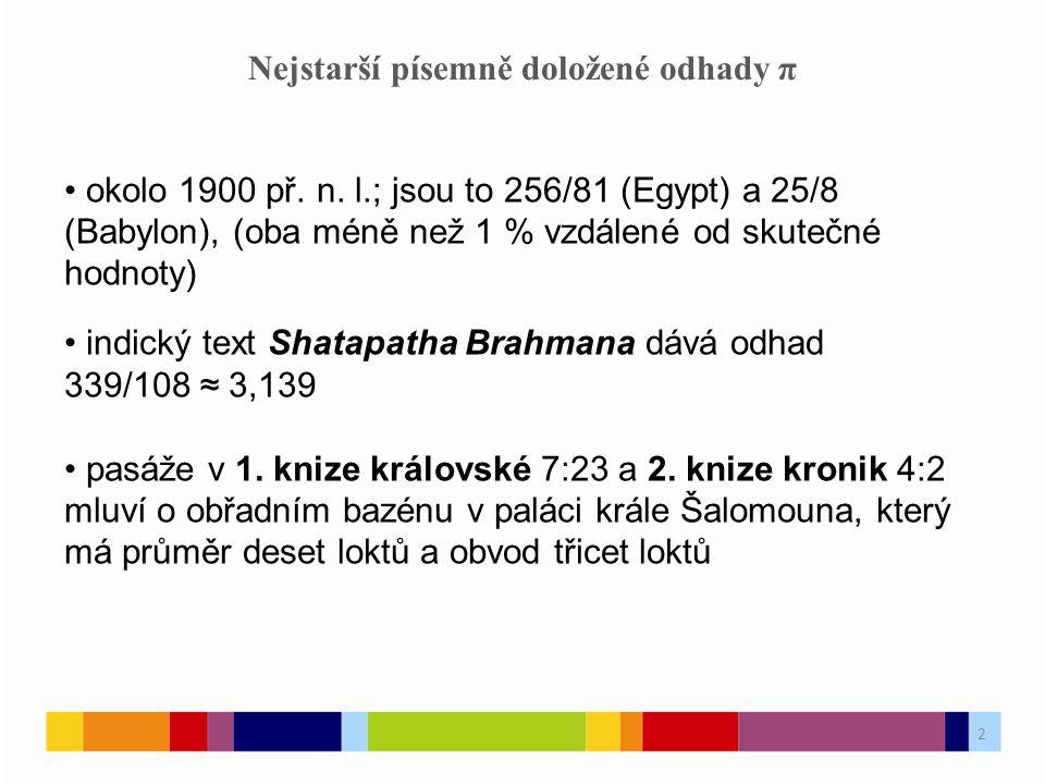 2 Nejstarší písemně doložené odhady π okolo 1900 př.