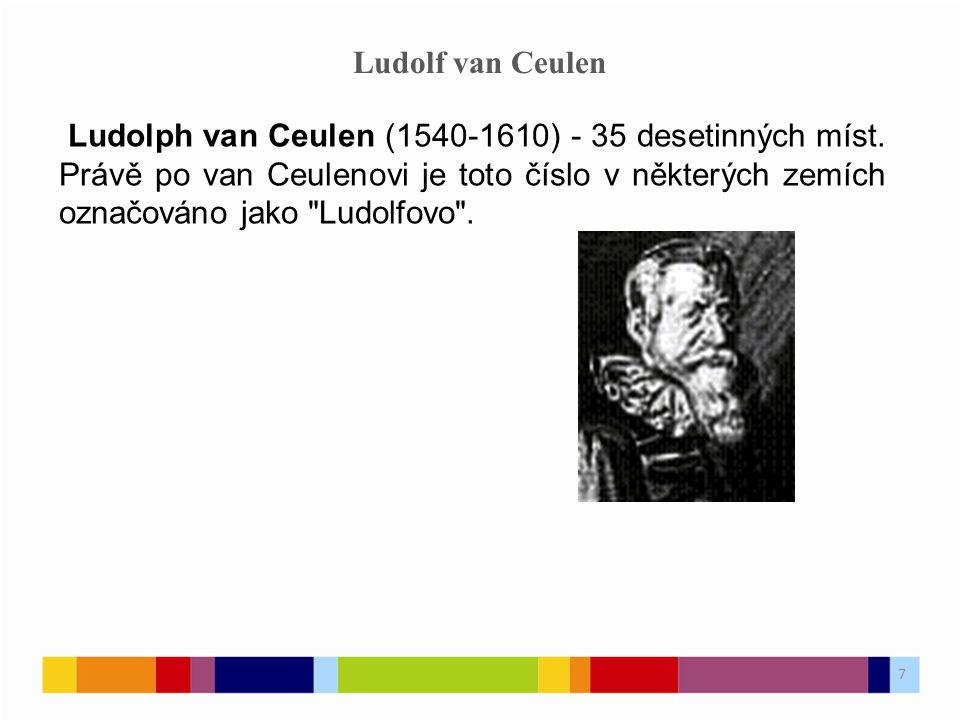 Ludolf van Ceulen Ludolph van Ceulen (1540-1610) - 35 desetinných míst.