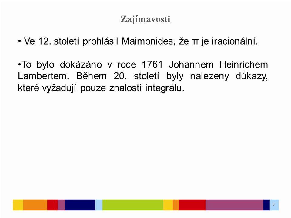 Zajímavosti Ve 12. století prohlásil Maimonides, že π je iracionální.