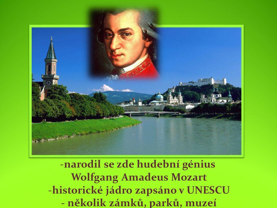 -narodil se zde hudební génius Wolfgang Amadeus Mozart -historické jádro zapsáno v UNESCU - několik zámků, parků, muzeí