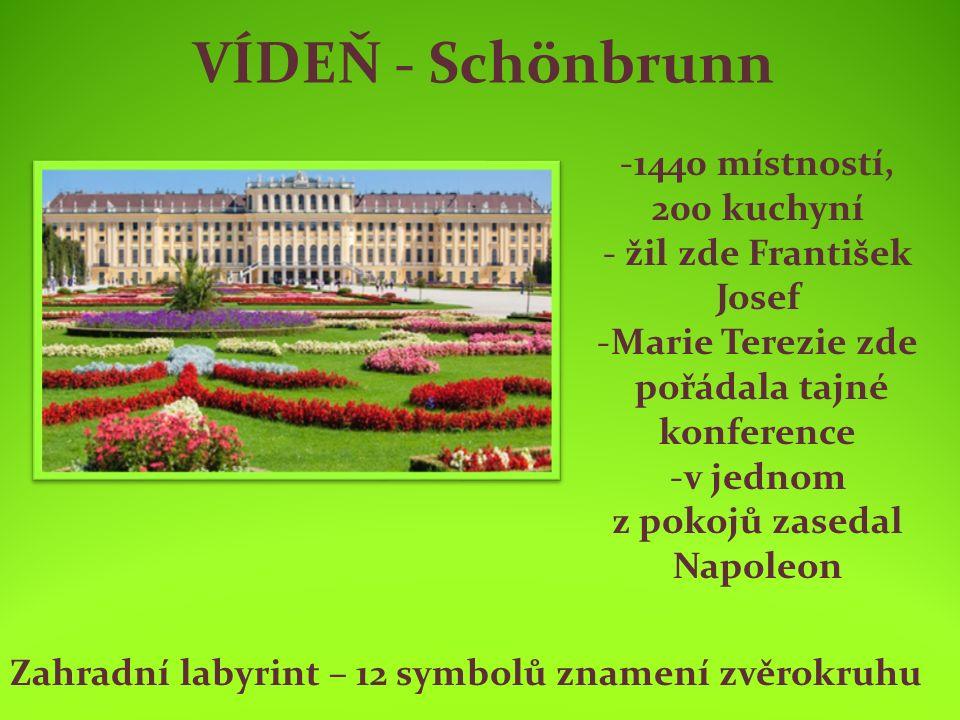 VÍDEŇ - Schönbrunn -1440 místností, 200 kuchyní - žil zde František Josef -Marie Terezie zde pořádala tajné konference -v jednom z pokojů zasedal Napoleon Zahradní labyrint – 12 symbolů znamení zvěrokruhu