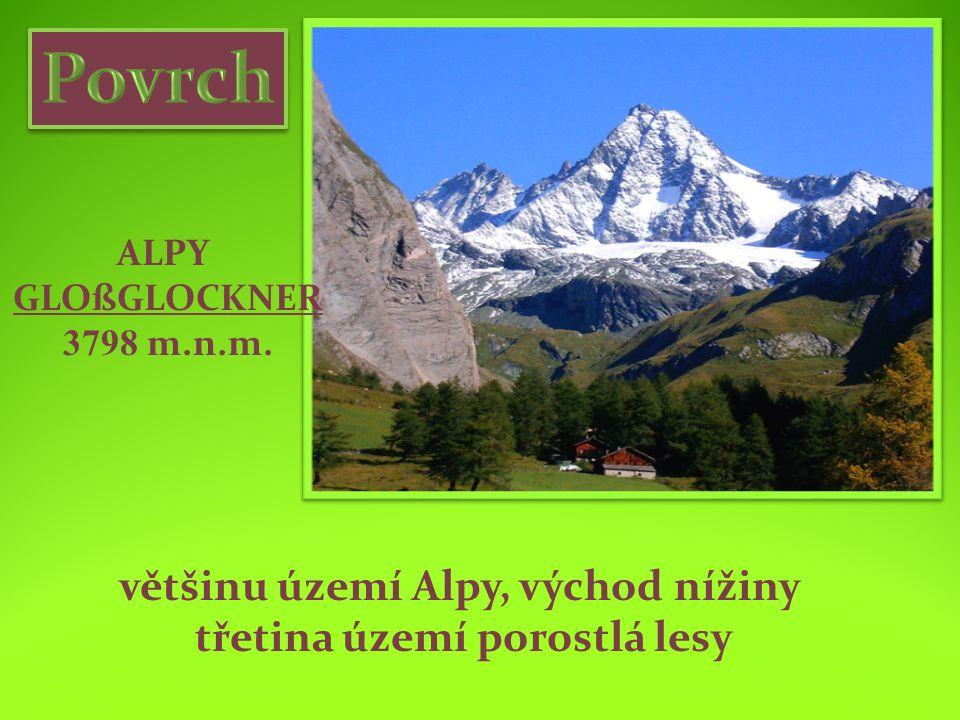 ALPY GLOßGLOCKNER 3798 m.n.m. většinu území Alpy, východ nížiny třetina území porostlá lesy