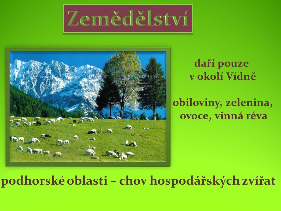 daří pouze v okolí Vídně obiloviny, zelenina, ovoce, vinná réva podhorské oblasti – chov hospodářských zvířat