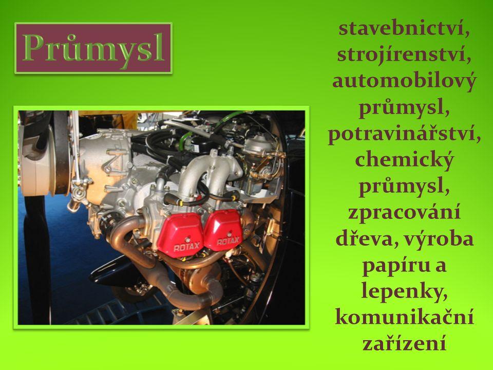 stavebnictví, strojírenství, automobilový průmysl, potravinářství, chemický průmysl, zpracování dřeva, výroba papíru a lepenky, komunikační zařízení