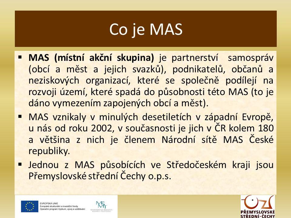  MAS (místní akční skupina) je partnerství samospráv (obcí a měst a jejich svazků), podnikatelů, občanů a neziskových organizací, které se společně podílejí na rozvoji území, které spadá do působnosti této MAS (to je dáno vymezením zapojených obcí a měst).