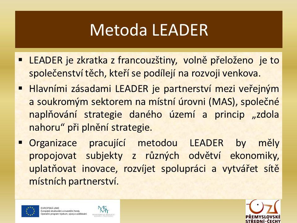  LEADER je zkratka z francouzštiny, volně přeloženo je to společenství těch, kteří se podílejí na rozvoji venkova.