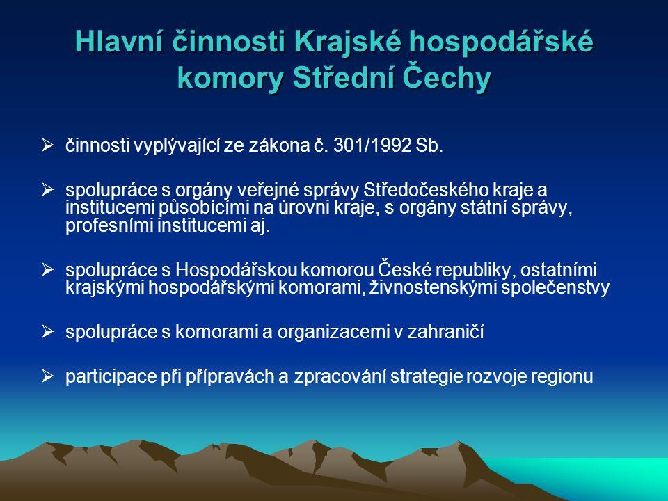 Hlavní činnosti Krajské hospodářské komory Střední Čechy  činnosti vyplývající ze zákona č.