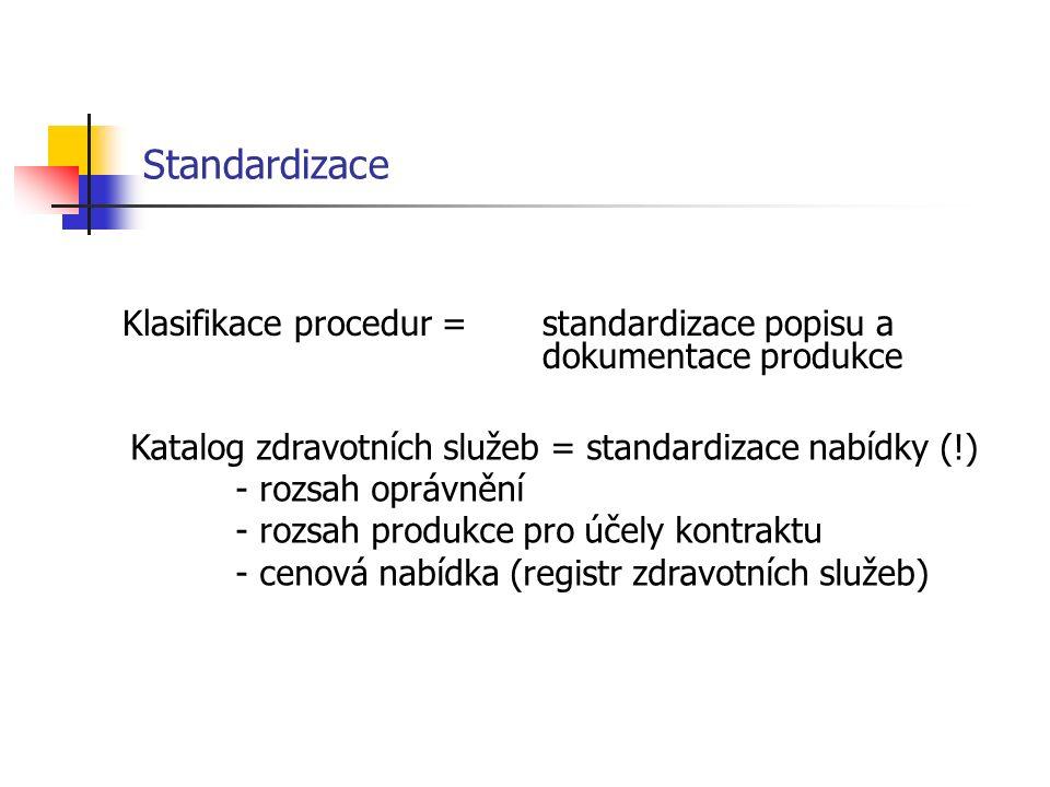 Standardizace Klasifikace procedur = standardizace popisu a dokumentace produkce Katalog zdravotních služeb = standardizace nabídky (!) - rozsah oprávnění - rozsah produkce pro účely kontraktu - cenová nabídka (registr zdravotních služeb)